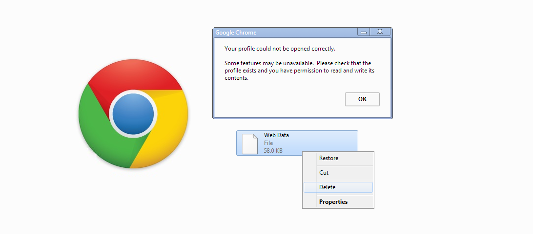 "How to -Fix the Google Chrome ""Your profile could not be"